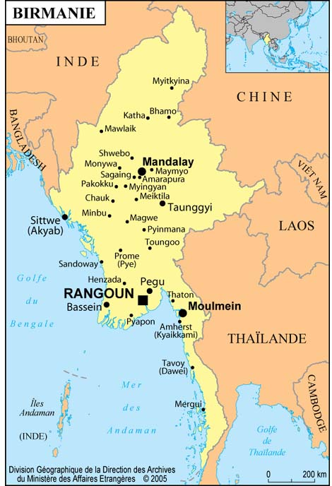 carte de la birmanie Carte et repères sur la Birmanie   ritimo