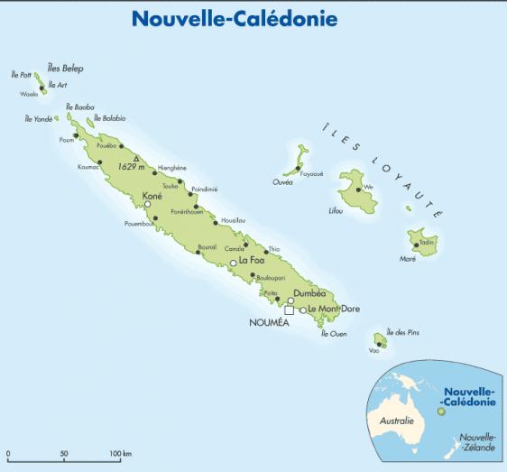 carte de la nouvelle calédonie Carte et repères sur la Nouvelle Calédonie   ritimo